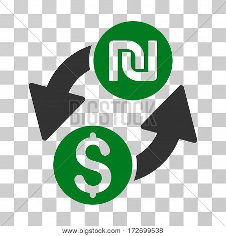 Dollar Shekel Exchange icon. Vector illustration style is flat iconic bicolor symbol green and gray colors transparent background. Designed for web and software interfaces.