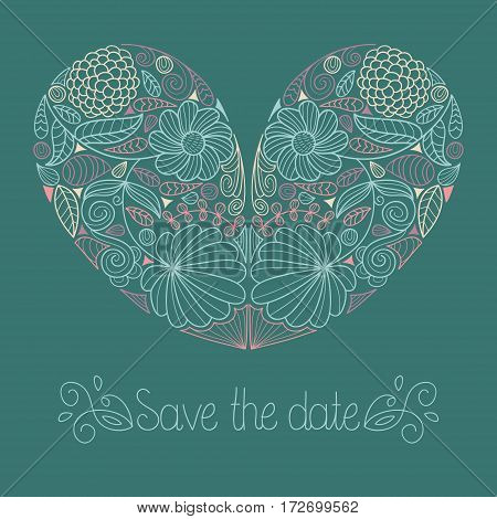 Wedding card in vector with floral heart and text save the date