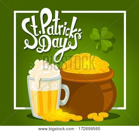 Vector Illustration Of St. Patrick's Day Greeting With Big Pot Of Gold And Beer On Green Background