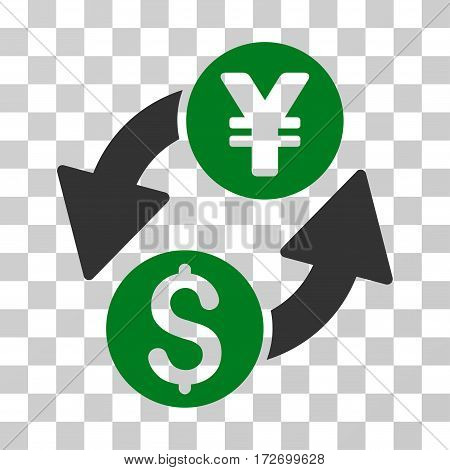 Dollar Yen Exchange icon. Vector illustration style is flat iconic bicolor symbol green and gray colors transparent background. Designed for web and software interfaces.