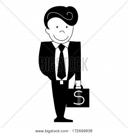 Black and white vector business man with case of money