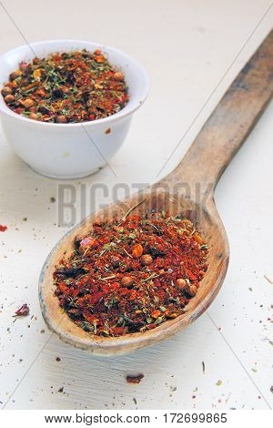 Spice Rack. Set Of Spices For Cooking. In The Spoon