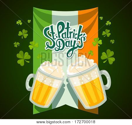 Vector Illustration Of St. Patrick's Day Greeting With Two Big Mugs Of Yellow Beer With Clovers, Iri