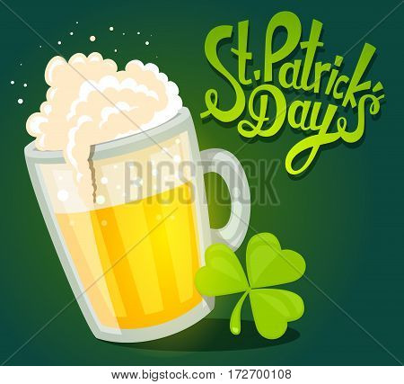 Vector Illustration Of St. Patrick's Day Greeting With Big Mug Of Yellow Beer With Clover On Dark Gr