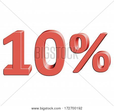 10% Vector illustration with 3D effect Percentage rate icon on a white background Ten percent Discount Tag Special Offer Label Sale Symbol