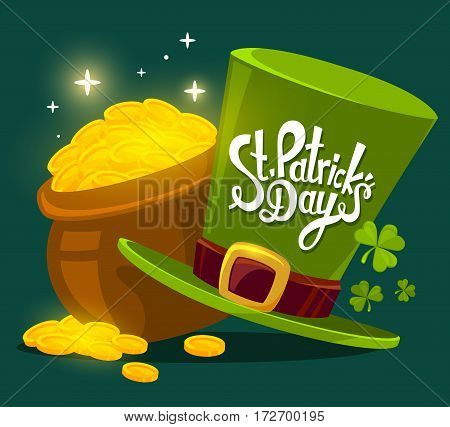 Vector Illustration Of St. Patrick's Day Greeting With Big Pot Of Gold And Hat On Dark Green Backgro