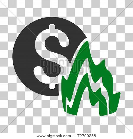 Fire Disaster Price icon. Vector illustration style is flat iconic bicolor symbol green and gray colors transparent background. Designed for web and software interfaces.