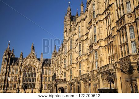A close up of the architectural details and spires of Palace of Westminster, London, Great Britain