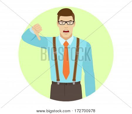 Businessman showing thumb down gesture as rejection symbol. A man wearing a tie and suspenders. Portrait of businessman in a flat style. Vector illustration.