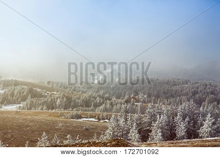 Beautiful winter mountains landscape in sunny morning