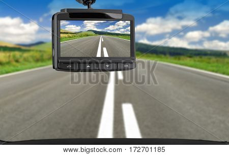 Car video recorder. CCTV car camera for safety on the road accident.