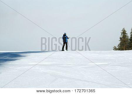 Skiing ski skier concept- skiing in the mountains - man skiing