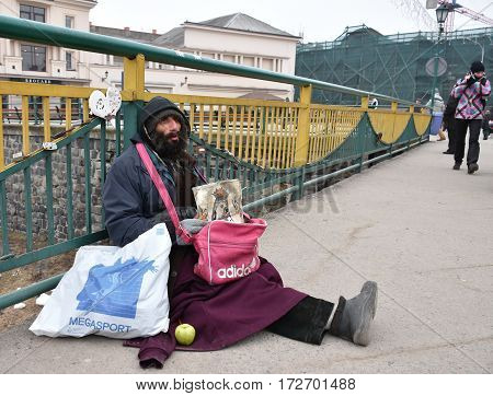 Uzhgorod,ukraine - February 16, 2017: Poor Man Begging For Alms