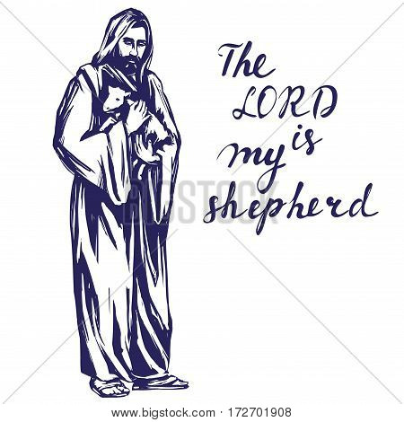 Jesus Christ, Son of God, holding a lamb in his handsr, symbol of Christianity hand drawn vector illustration sketch