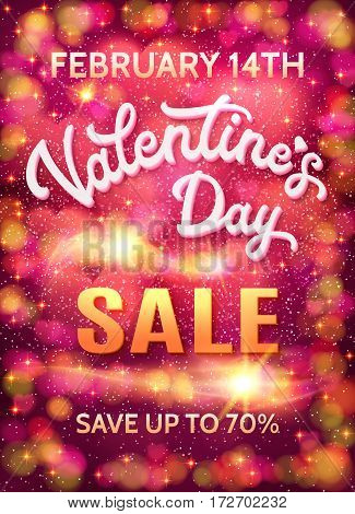 Valentines day sale poster template on abstract pink bokeh background with hearts, stars and circles. Discount banner with 3d white hand lettering text. Font vector illustration. EPS10