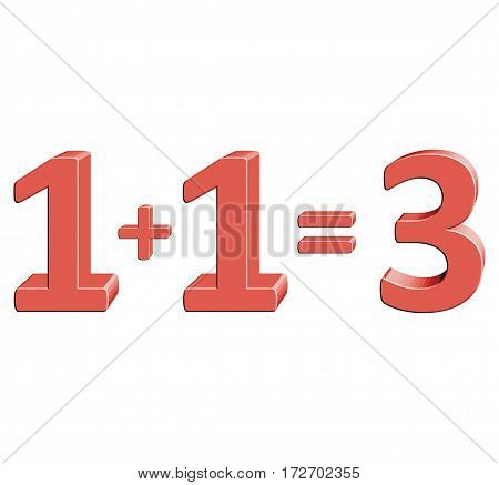 1+1=3 Vector illustration with 3D effect Percentage rate icon on a white background Special offer three for the price of two Discount Tag Special Offer Label Sale Symbol