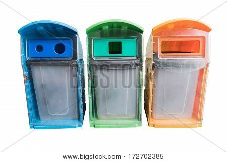 three colors recycle bins at public park