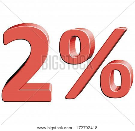 2% Vector illustration with 3D effect Percentage rate icon on a white background Two percent Discount Tag Special Offer Label Sale Symbol