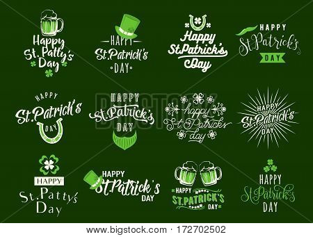 Vector illustration of happy patricks day typography lettering text design. Set of logo, emblems, greeting message, holiday card, overlay templates isolated on green background