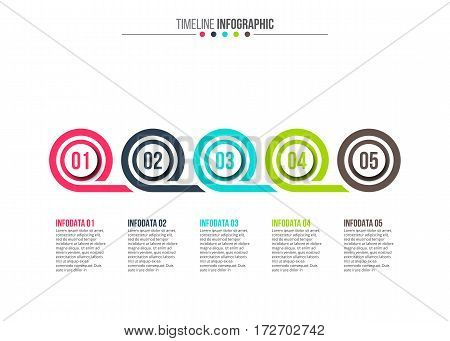 Vector abstract circle elements for infographic. Template for diagram, graph, presentation and chart. Business concept with 5 options, parts, steps or processes. Stroke icons.