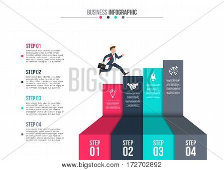 Businessman stepping up the stairs of ribbons, carrying briefcase. Business growth step infographics option. Template for presentation and workflow layout. Abstract background.