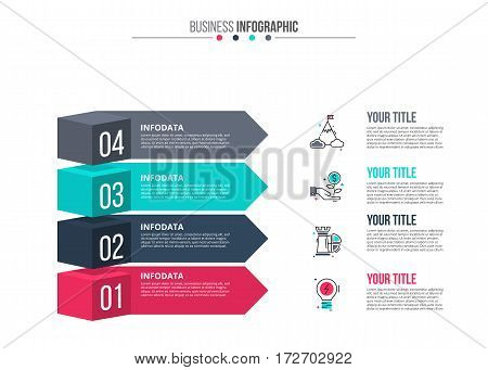 Vector elements for infographic. Template for diagram, graph, presentation and chart. Business concept with 4 options, parts, steps or processes. Stroke icons.