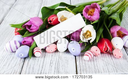 Tulip Bouquet And Blank Greeting Easter Card
