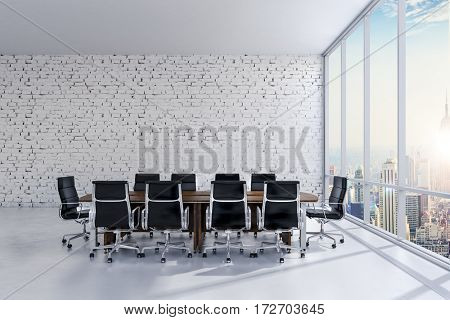 3d conference office room with a big window