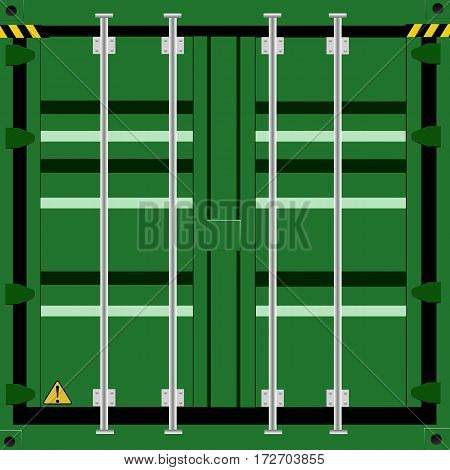 cargo container in green color background vector illustration