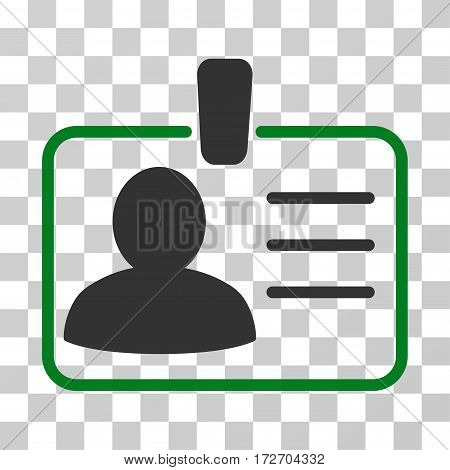 Personal Badge icon. Vector illustration style is flat iconic bicolor symbol green and gray colors transparent background. Designed for web and software interfaces.