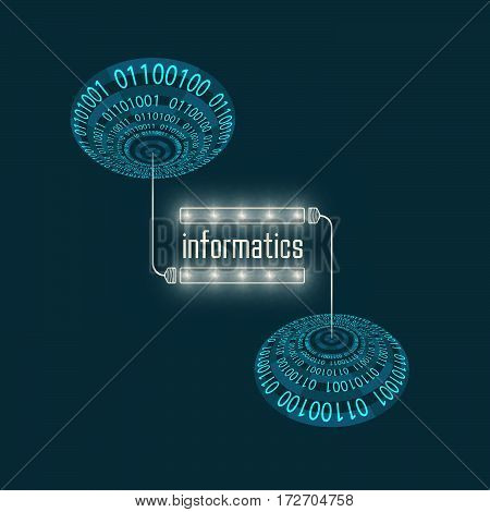 Futuristic abstract background with binary code and light