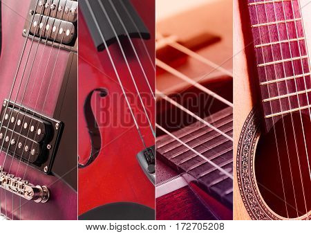 Music Collage. Collage of photos of tinted blue guitar and amp.