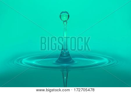 tranquil cyan water droplet in a calm spa water poster
