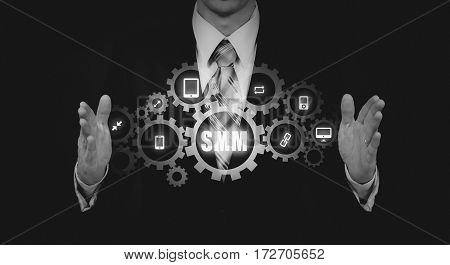 SMM Social Media Marketing Advertising Online Business Concept.