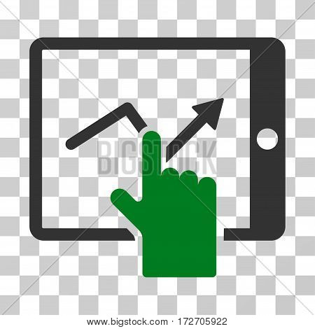 Tap Trend On PDA icon. Vector illustration style is flat iconic bicolor symbol green and gray colors transparent background. Designed for web and software interfaces.