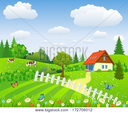 Rural landscape with fields and hillswith fields and hills. Summer landscape with house and cows. vector illustration