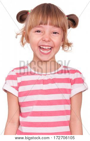 Emotional portrait of a 5 years old girl, laughing. Cute caucasian baby isolated on white background. Beautiful preschool child posing in studio. Healthy carefree kid playing indoors.
