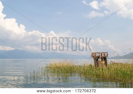 Reed fishing hut, build in the lake