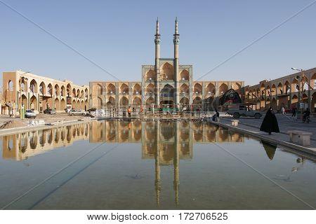 YAZD, IRAN - OCTOBER 9, 2016: Takiyeh Amir Chaqmaq, one of the sights of Yazd on October 9, 2016 in Iran, Asia