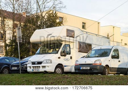 STRASBOURG FRANCE - FEB 2 2017: Fiat Libery motorhome parked in public congested parking