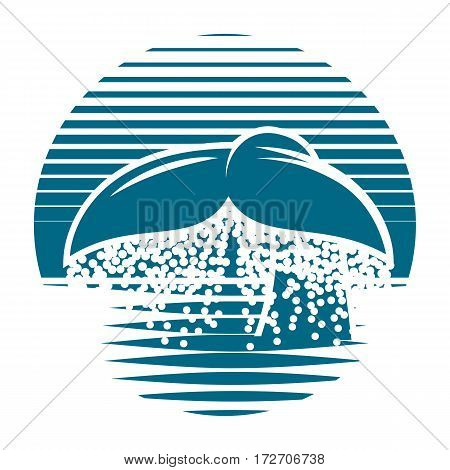 monochrome blue vector template for a logo with whale tail