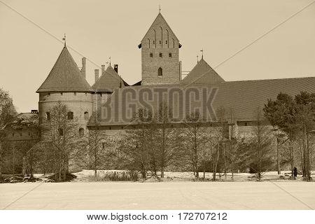 Old castle of Trakai, Lithuania. Sepai toned photo