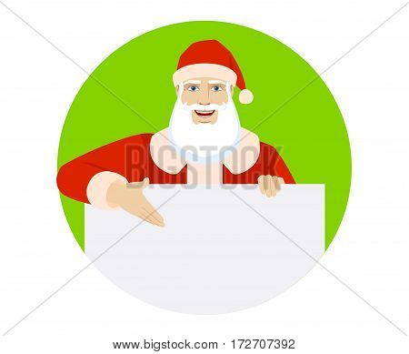 Santa Claus showing blank signboard. Portrait of Santa Claus in a flat style. Vector illustration.