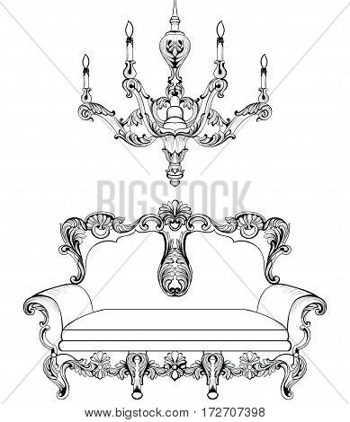 Exquisite Fabulous Imperial Baroque sofa engraved. Vector French Luxury rich intricate ornamented structure. Victorian Royal Style decoration