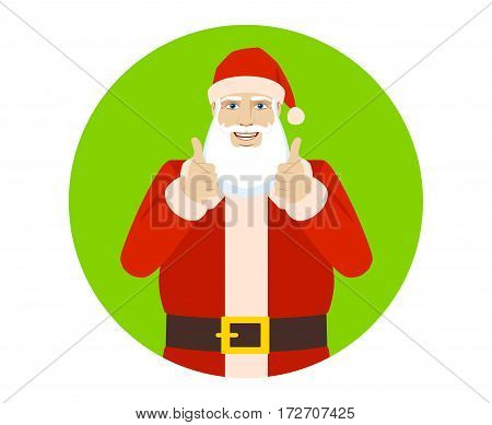 Smiling Santa Claus shows thumb up. Portrait of Santa Claus in a flat style. Vector illustration.