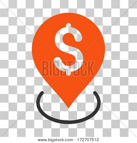 Bank Placement icon. Vector illustration style is flat iconic bicolor symbol orange and gray colors transparent background. Designed for web and software interfaces.