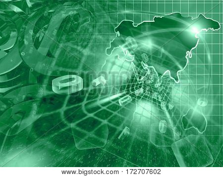 Digits and map - abstract computer background in greens.