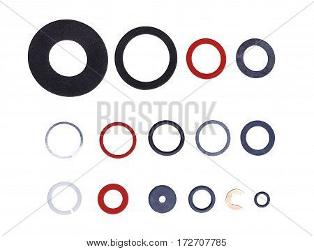 Set of gaskets for sanitary needs isolated on white background