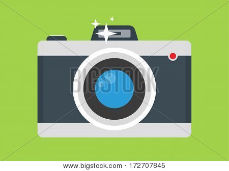 Retro camera flat style with flash on green background