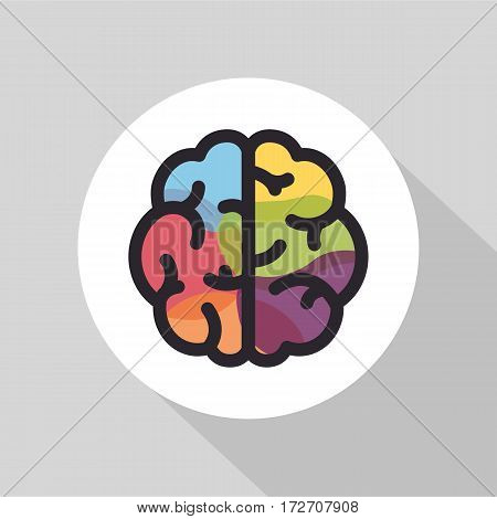 Flat style brain icon colorful, mindmaps or brainstorming concept